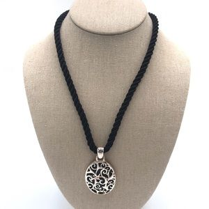 Coldwater Creek Silver Medallion Pendant Necklace